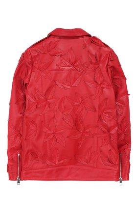 Кожаная куртка с косой молнией и аппликациями | Фото №2