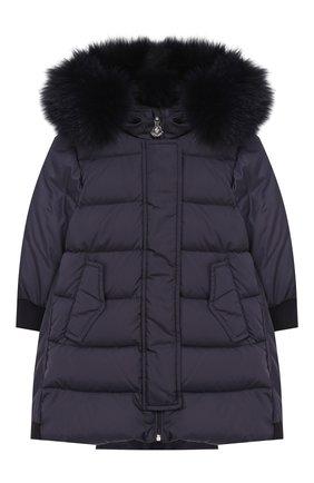 Детского пуховое пальто с капюшоном MONCLER ENFANT синего цвета, арт. D2-951-49934-25-68352 | Фото 1