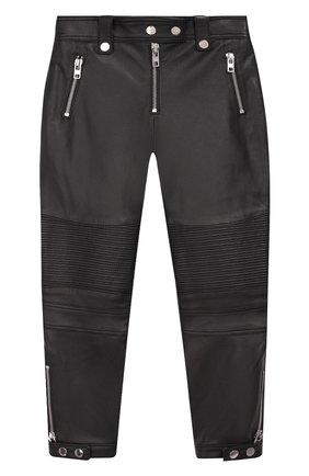Кожаные брюки с отделкой | Фото №1