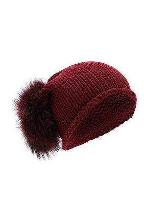 Кашемировая шапка с меховым помпоном   Фото №1