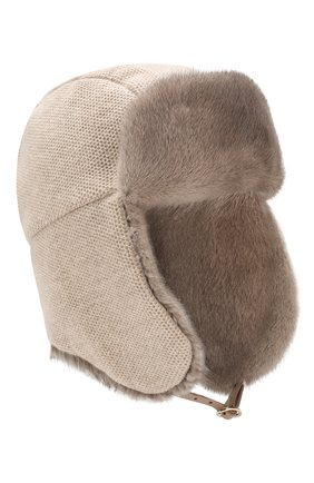 Женский кашемировая шапка с меховой отделкой INVERNI бежевого цвета, арт. 3943CM. | Фото 1