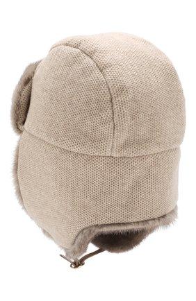 Женский кашемировая шапка с меховой отделкой INVERNI бежевого цвета, арт. 3943CM. | Фото 2