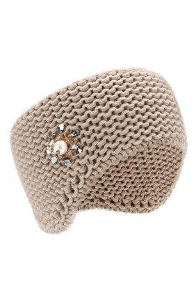 Кашемировая повязка на голову с декором | Фото №1