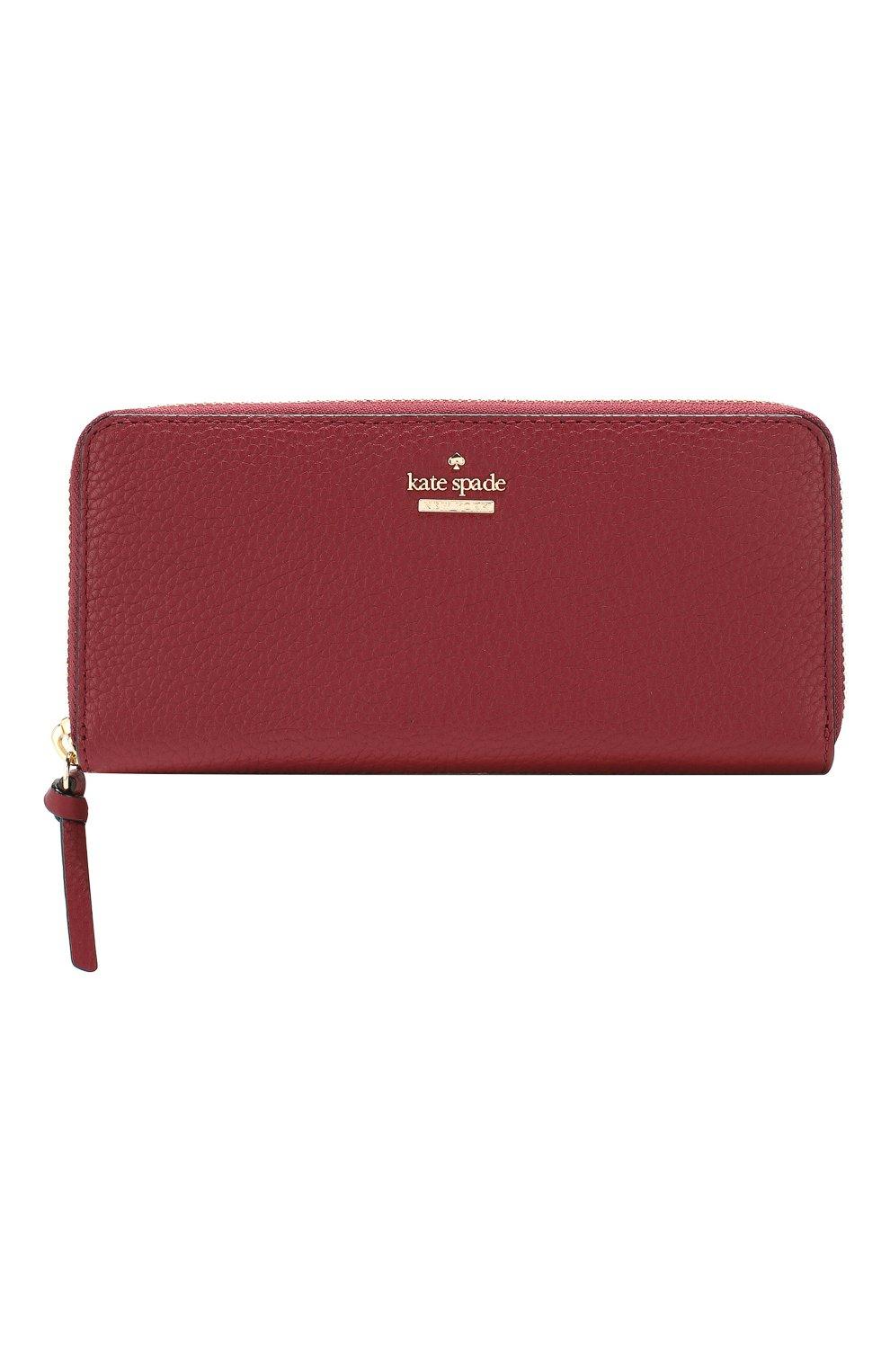 Кожаный кошелек на молнии Kate Spade New York красного цвета | Фото №1