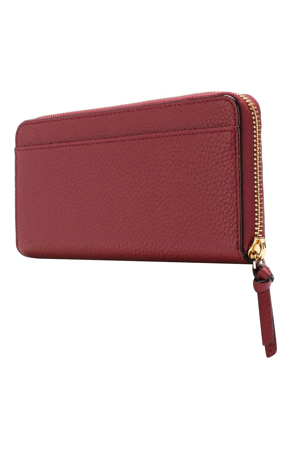 Кожаный кошелек на молнии Kate Spade New York красного цвета   Фото №2