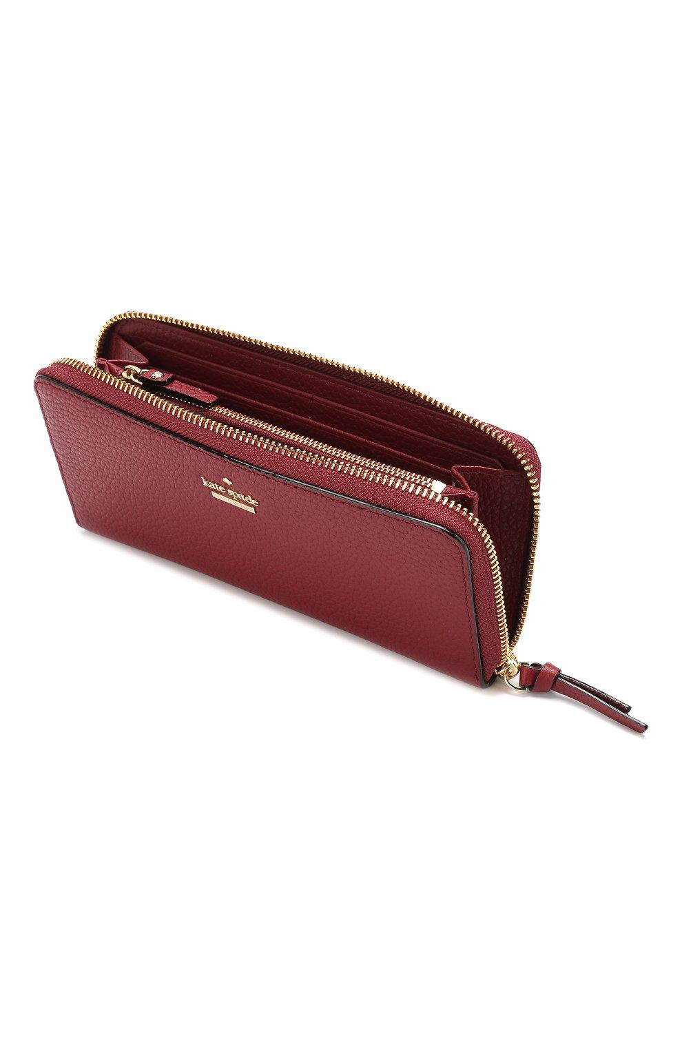 Кожаный кошелек на молнии Kate Spade New York красного цвета | Фото №3