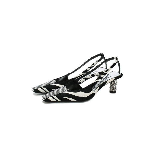 Бархатные туфли с открытым задником на декорированном каблуке Tom Ford