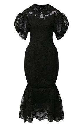 Кружевное платье-миди с отложным воротником | Фото №1