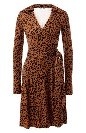 Шелковое платье с запахом и принтом   Фото №1