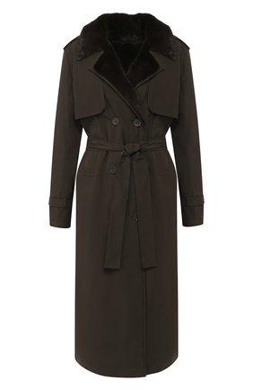 Двубортное пальто с подкладкой из меха норки | Фото №1
