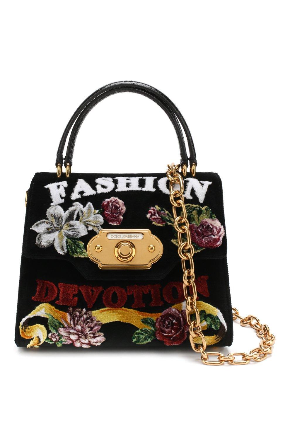 7b0b559113f8 Женская сумка welcome medium из бархата DOLCE & GABBANA черная цвета ...