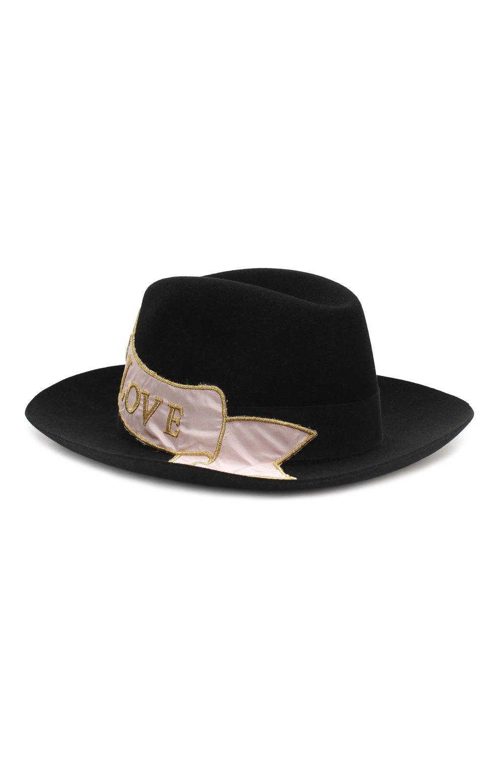 Фетровая шляпа с аппликацией Dolce & Gabbana черного цвета | Фото №2