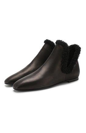 Кожаные ботинки Eros с отделкой из овчины | Фото №1