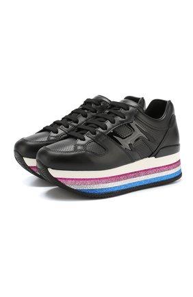 Кожаные кроссовки на платформе с глиттером | Фото №1