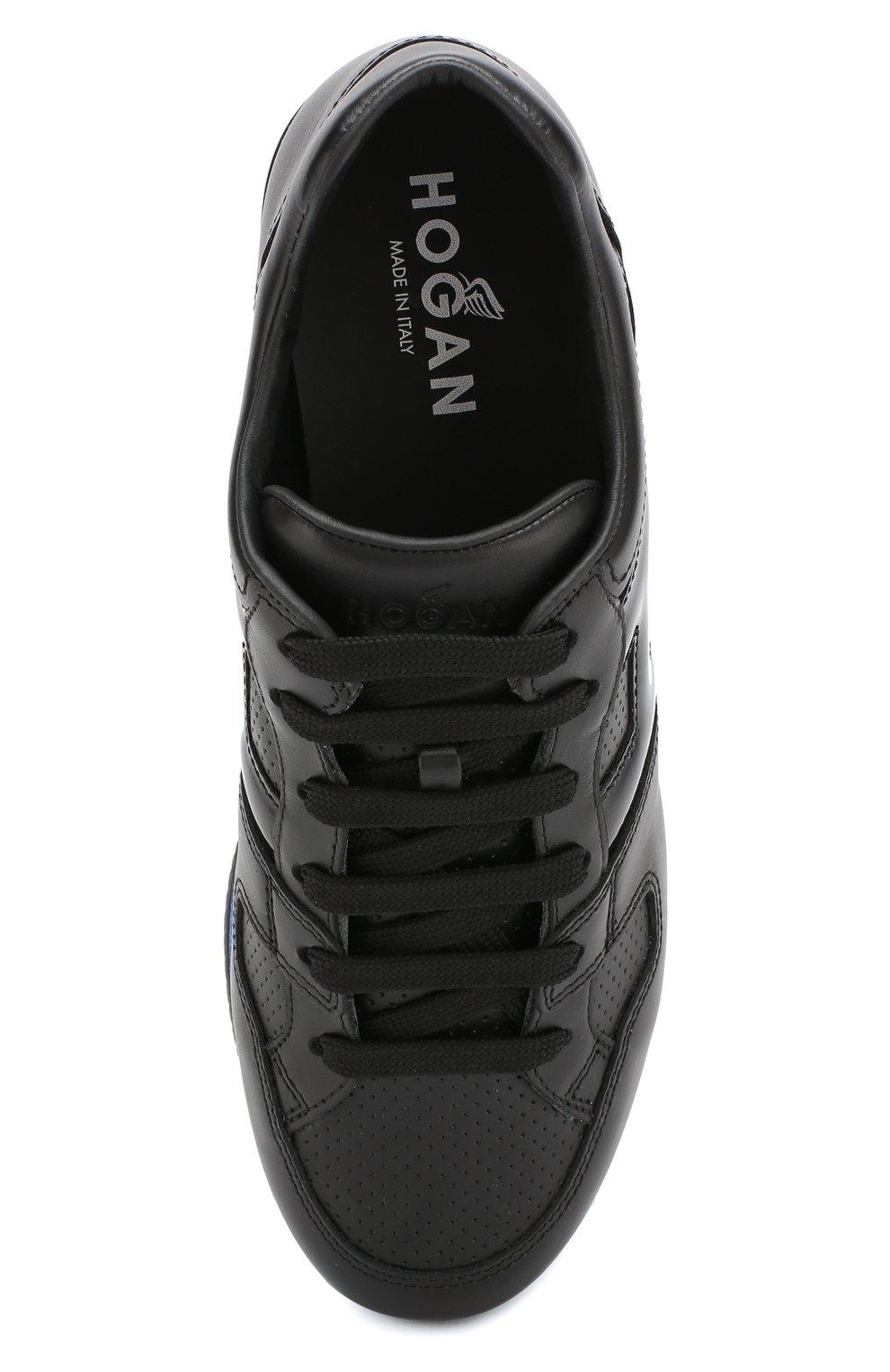 c25f8a12 Женские черные кожаные кроссовки на платформе с глиттером HOGAN ...