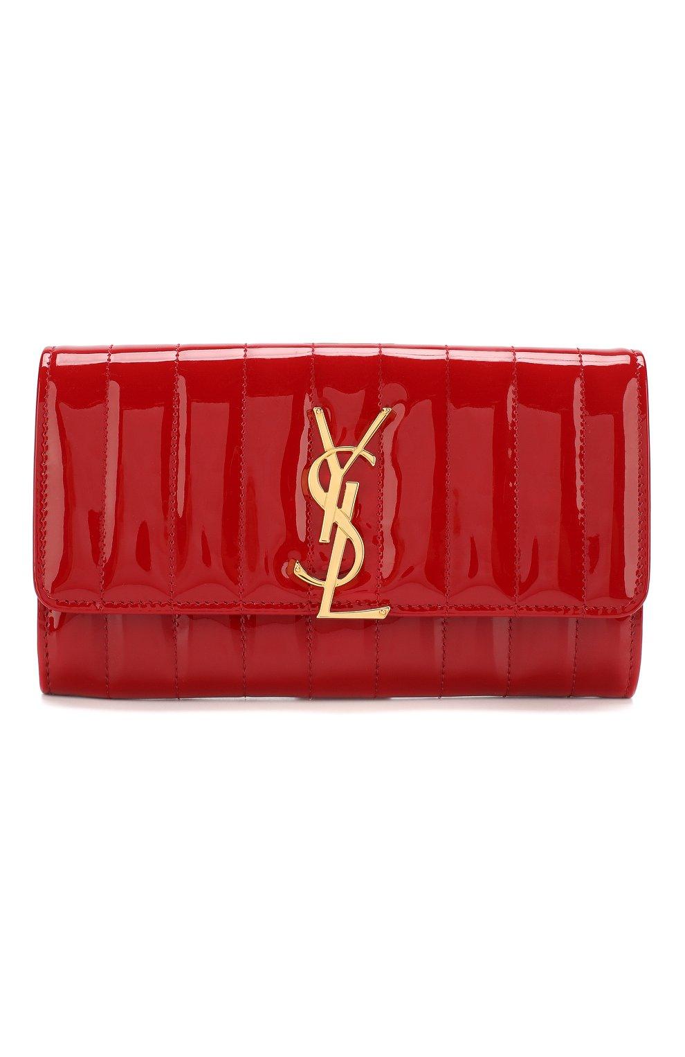 Лакированный кошелек Vicky Saint Laurent красного цвета | Фото №1