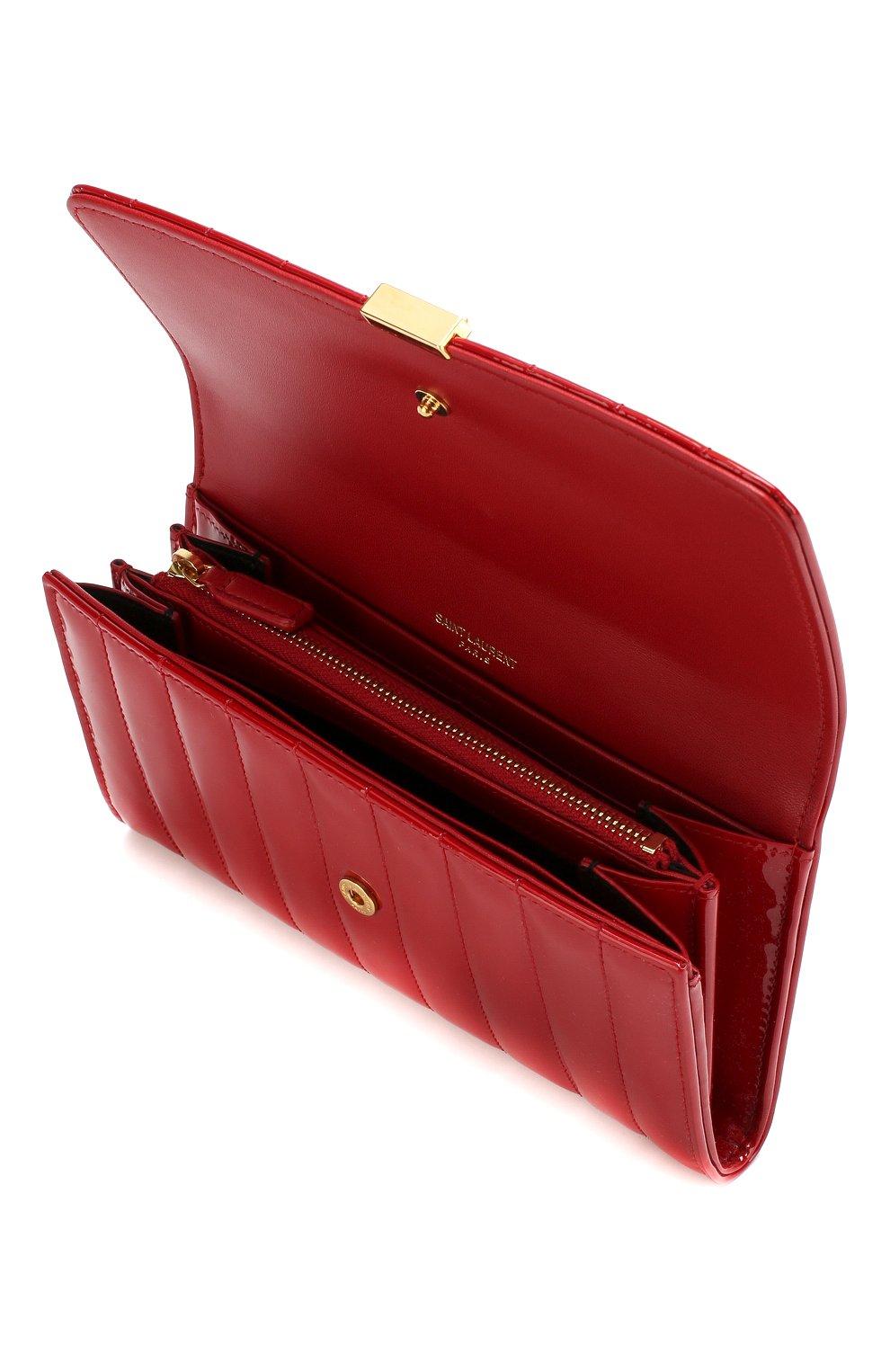Лакированный кошелек Vicky Saint Laurent красного цвета | Фото №3