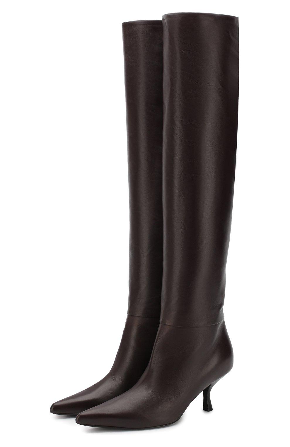 Кожаные сапоги Bourgeoise на фигурном каблуке The Row темно-коричневые | Фото №1