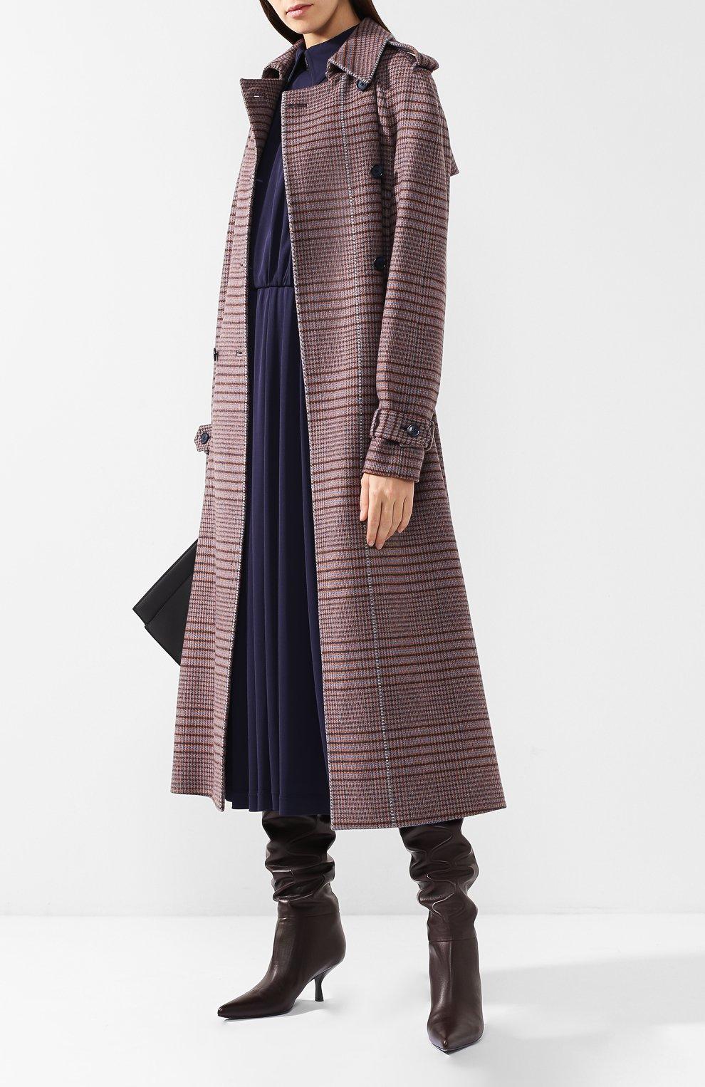 Кожаные сапоги Bourgeoise на фигурном каблуке The Row темно-коричневые | Фото №2