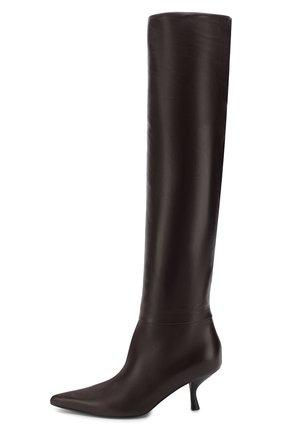 Кожаные сапоги Bourgeoise на фигурном каблуке The Row темно-коричневые | Фото №3
