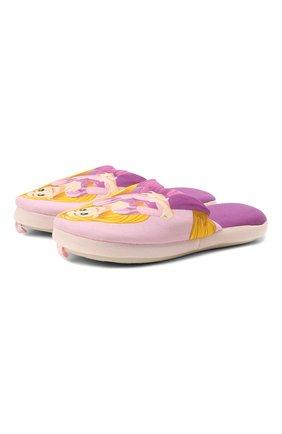 Детского текстильная домашняя обувь DE FONSECA розового цвета, арт. ROMA G490RU   Фото 1