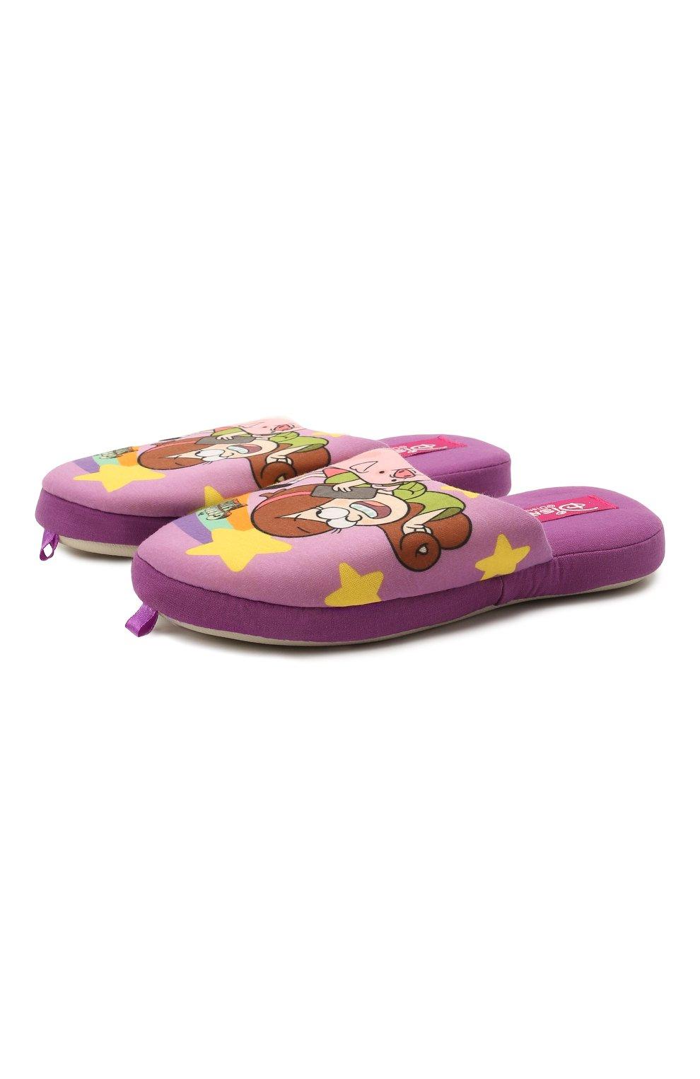 Детского текстильная домашняя обувь DE FONSECA фиолетового цвета, арт. ROMA G491RU   Фото 1 (Материал внешний: Текстиль; Статус проверки: Проверена категория)