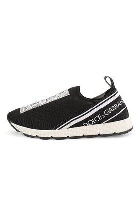 Детские текстильные кроссовки со стразами без шнуровки DOLCE & GABBANA черно-белого цвета, арт. D10723/AZ259/29-36 | Фото 2