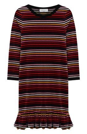 Хлопковое платье прямого кроя с оборкой | Фото №1