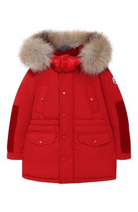 Детского куртка с меховой отделкой на капюшоне MONCLER ENFANT красного цвета, арт. D2-951-42343-25-54543 | Фото 1