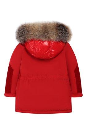 Детского куртка с меховой отделкой на капюшоне MONCLER ENFANT красного цвета, арт. D2-951-42343-25-54543 | Фото 2