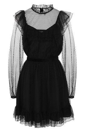 Приталенное платье с оборками и воротником-стойкой | Фото №1