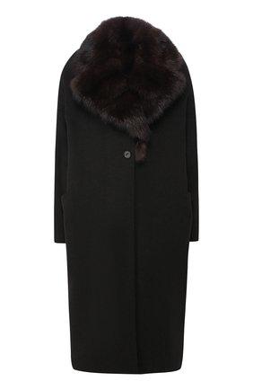 Шерстяное пальто с меховым воротником | Фото №1