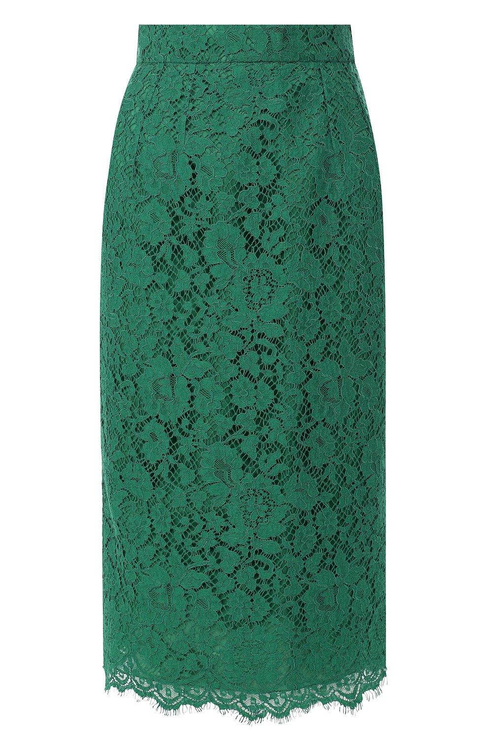 Кружевная юбка-карандаш с разрезом | Фото №1