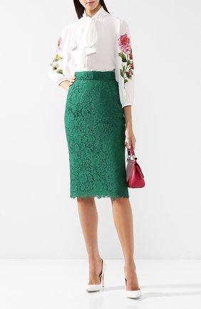 Кружевная юбка-карандаш с разрезом | Фото №2