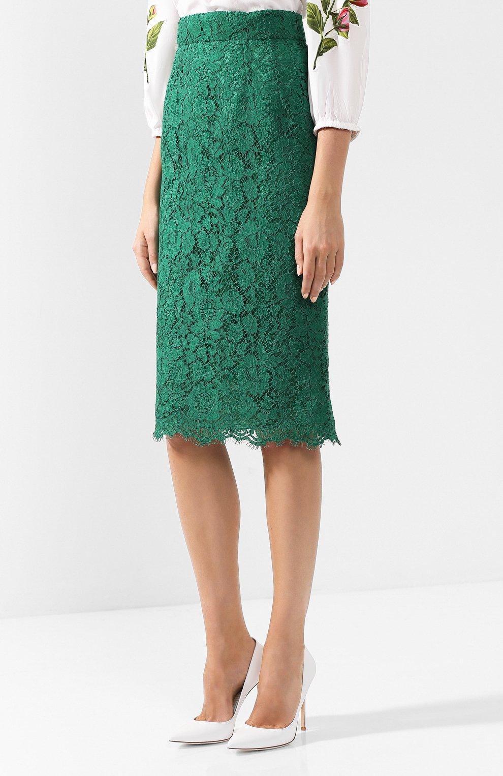 Кружевная юбка-карандаш с разрезом | Фото №3