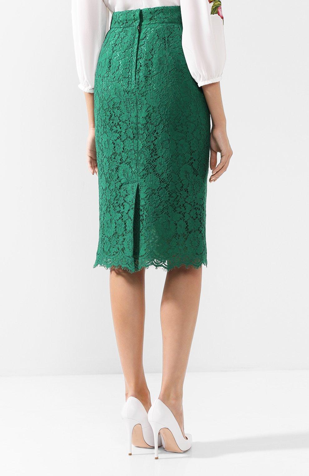Кружевная юбка-карандаш с разрезом | Фото №4