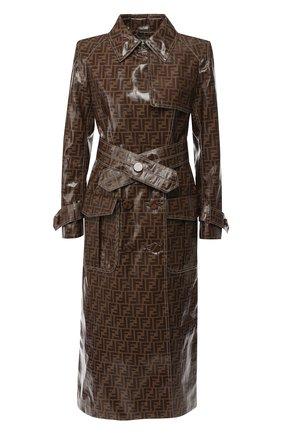 Двубортное пальто с поясом и логотипом бренда | Фото №1