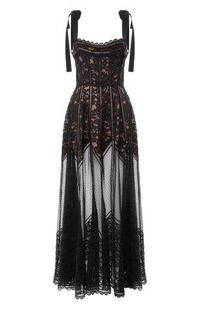 Кружевное платье-макси с открытой спиной | Фото №1