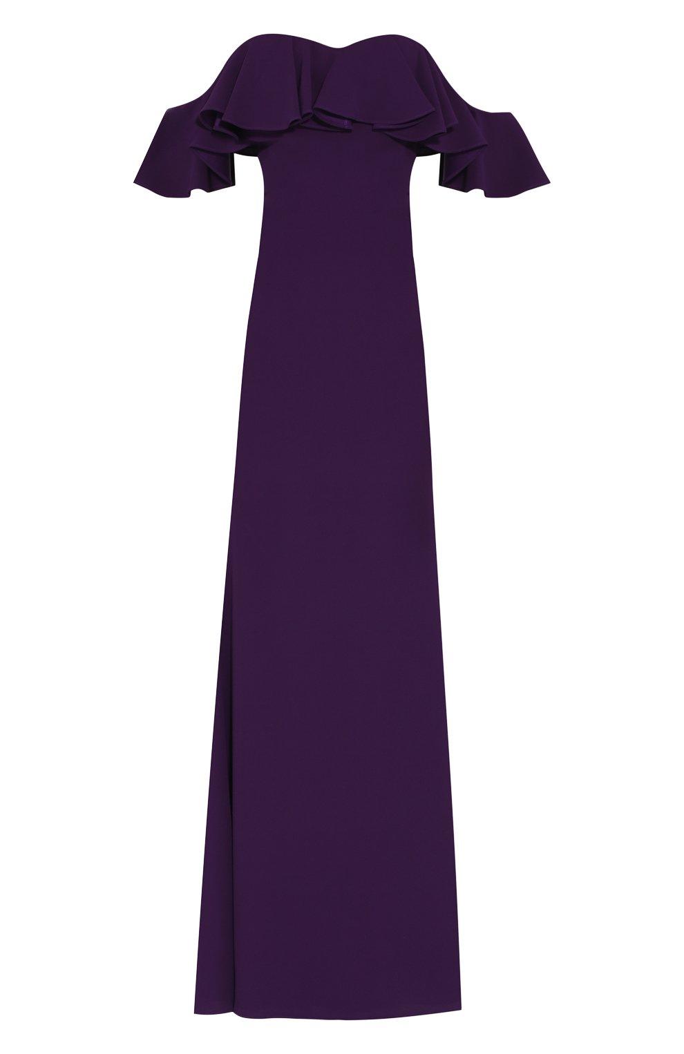 Платье-макси с открытыми плечами и оборкой | Фото №1