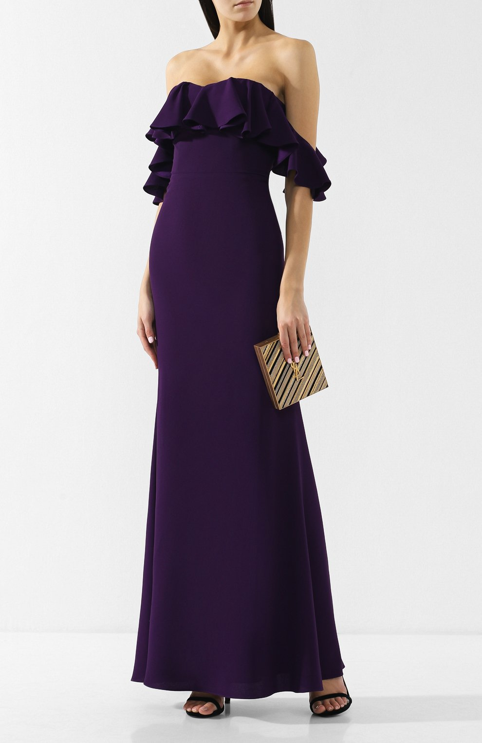 Платье-макси с открытыми плечами и оборкой | Фото №2