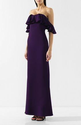 Платье-макси с открытыми плечами и оборкой | Фото №3