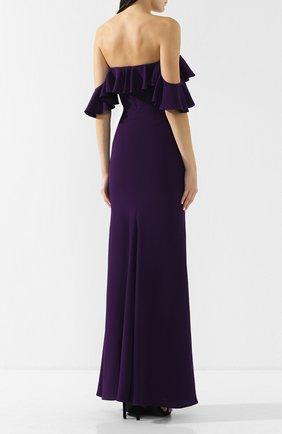 Платье-макси с открытыми плечами и оборкой | Фото №4