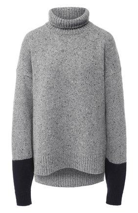 Шерстяной пуловер свободного кроя с высоким воротником | Фото №1
