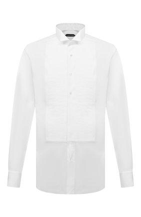 Мужская хлопковая сорочка под смокинг TOM FORD белого цвета, арт. 4FT000/94C8CR   Фото 1