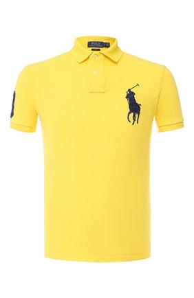 Мужское хлопковое поло с короткими рукавами POLO RALPH LAUREN желтого цвета, арт. 710692225 | Фото 1