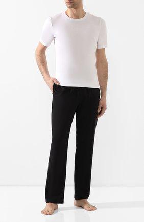 Мужские хлопковые домашние брюки с широкой резинкой CALVIN KLEIN черного цвета, арт. NB1160E | Фото 2