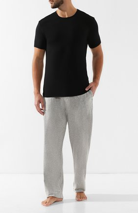 Мужские хлопковые домашние брюки с широкой резинкой CALVIN KLEIN серого цвета, арт. NB1160E   Фото 2