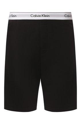 Мужские хлопковые домашние шорты с широкой резинкой CALVIN KLEIN черного цвета, арт. NM1358E | Фото 1