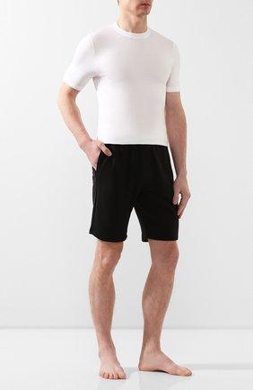 Мужские хлопковые домашние шорты с широкой резинкой CALVIN KLEIN черного цвета, арт. NM1358E | Фото 2