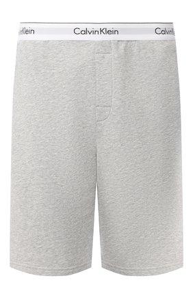 Мужские хлопковые домашние шорты с широкой резинкой CALVIN KLEIN серого цвета, арт. NM1358E | Фото 1